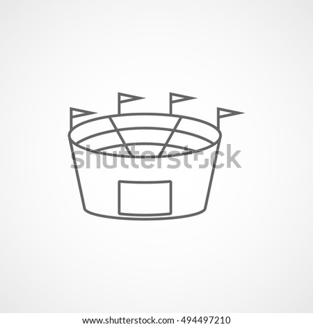 Baseball Field Line Icon On White Background