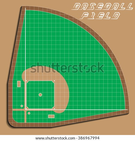 Baseball field on top. Applique with realistic shadows. Vector illustration.
