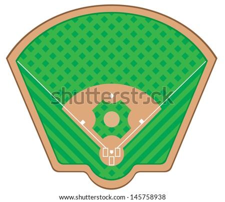 baseball field vector illustration isolated on white background - stock vector