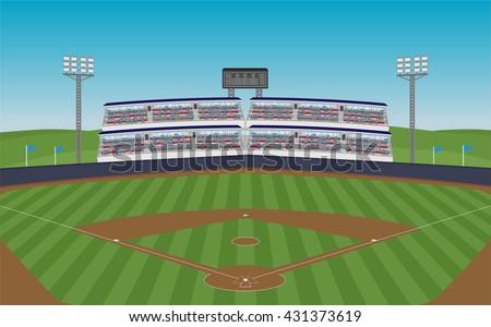 Baseball field grandstand vector vector de stock431373619 shutterstock baseball field with grandstand vector malvernweather Images