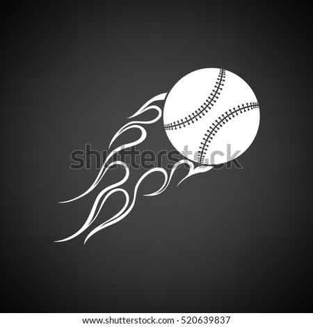 Baseball fire ball icon. Black background with white. Vector illustration.