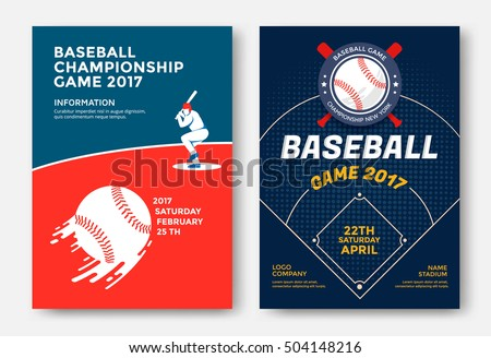 Baseball Game Modern Sports Posters Design Stock Vector