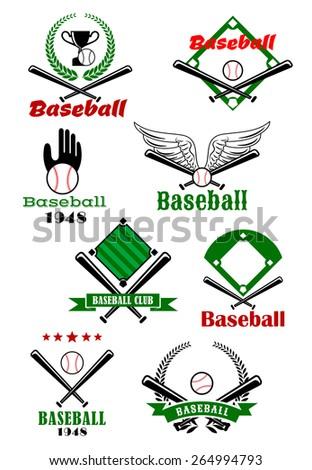 Baseball Game Sporting Emblems Symbols Various Stock Vector Hd