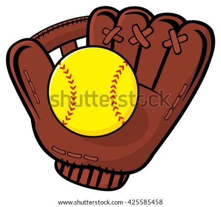 Baseball Glove And Yellow Softball. Vector Illustration Isolated On White Background