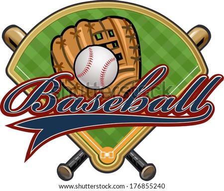 baseball glove ball bat field stock vector 176855240 shutterstock rh shutterstock com Baseball Bat Clip Art Baseball Bat Outline