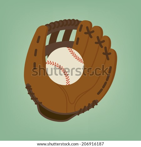 Baseball glove with ball on simple background