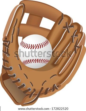 baseball glove with ball vector - stock vector