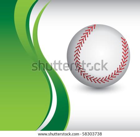 baseball green wave backdrop - stock vector