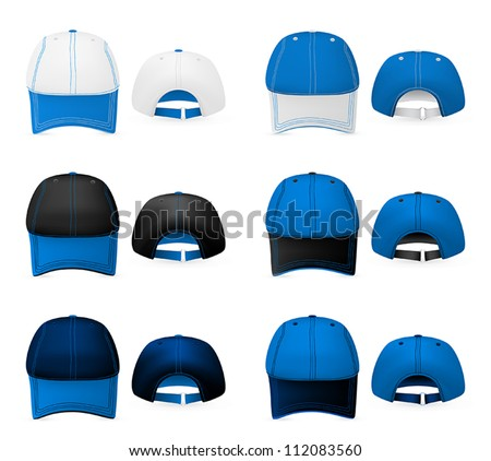 Baseball hats template. Mesh, gradients. - stock vector