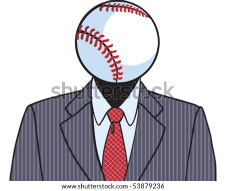 Baseball Head - stock vector