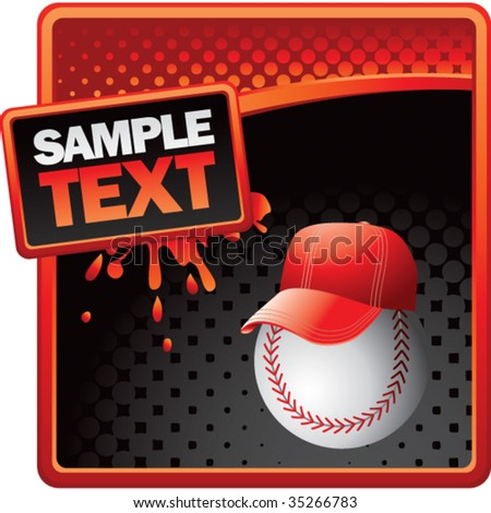 baseball head with cap on red splat banner