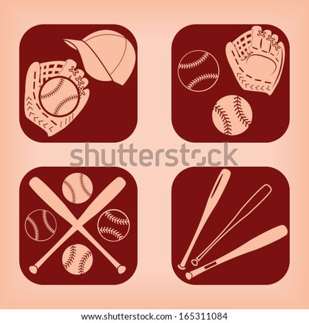 Baseball icon - four variations - stock vector