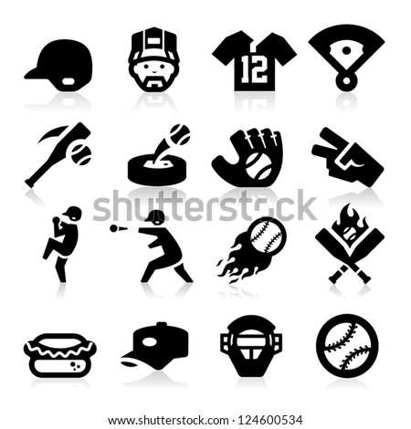 Baseball Icons - stock vector
