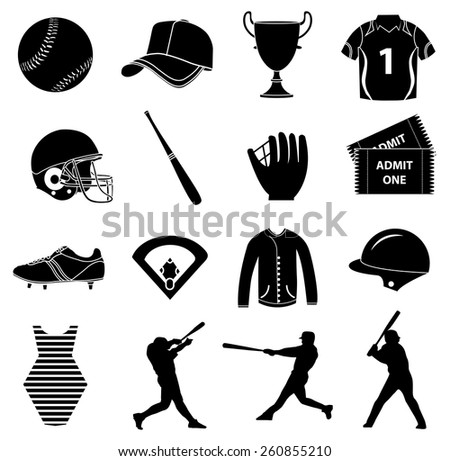 Baseball icons set - stock vector