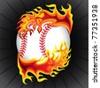 baseball in flame - stock photo