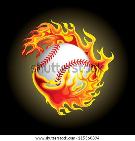 baseball in flame - stock vector