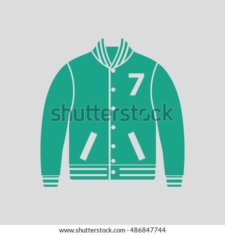Baseball jacket icon. Gray background with green. Vector illustration.