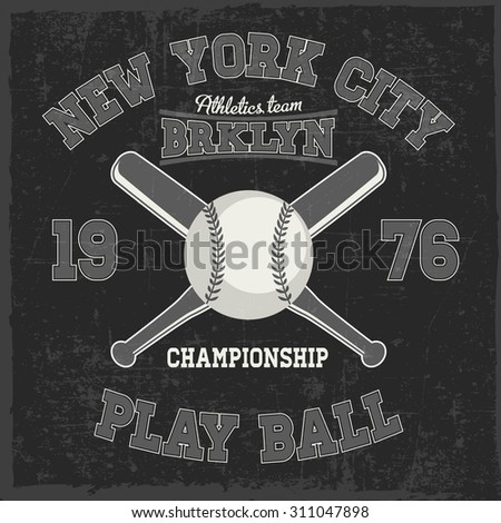 Baseball label with ball and bats in the center, t-shirt design, dusty background - stock vector