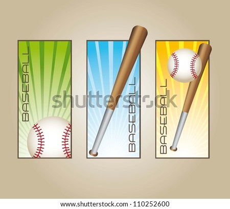baseball labels with balls and bats. vector illustration - stock vector
