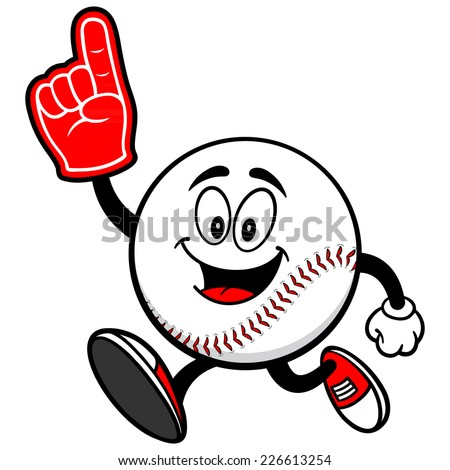 Baseball Mascot Running with Foam Finger - stock vector