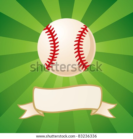 Baseball on a bright green background - stock vector