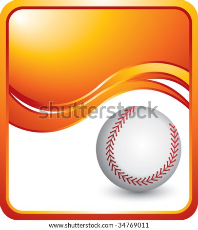 baseball on modern style wave background - stock vector