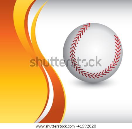 baseball on vertical orange wave - stock vector