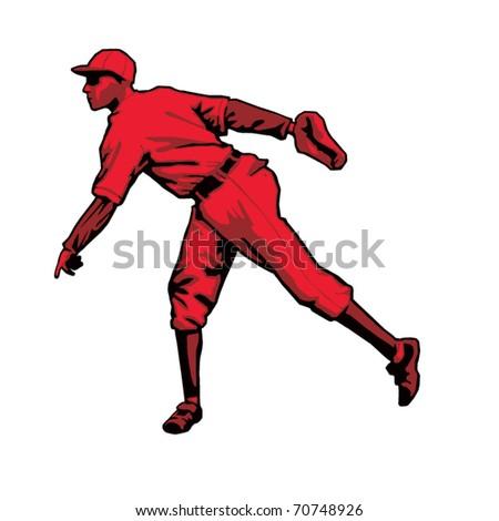 Baseball Pitcher Left handed - stock vector