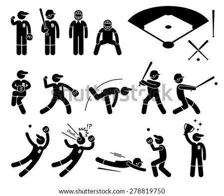 Baseball Player Actions Poses Stick Figure Pictogram Icons - stock vector