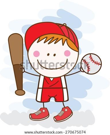 baseball player boy - stock vector