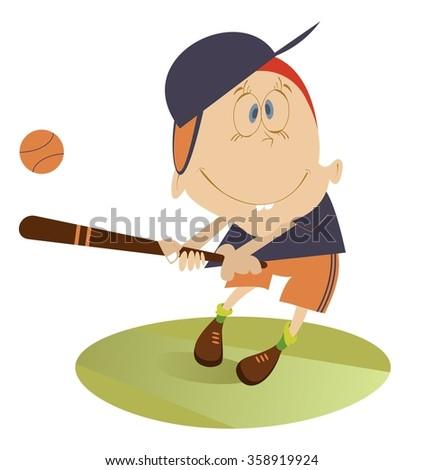 Baseball player. Comic boy hits a ball  - stock vector