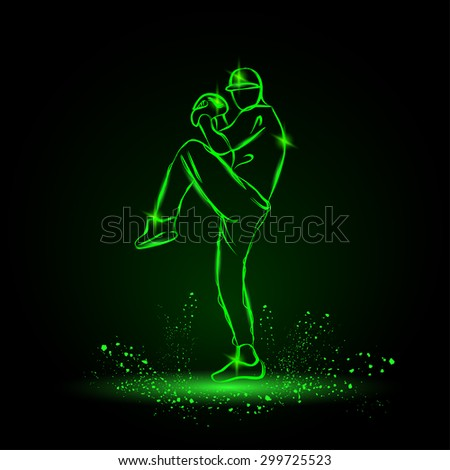 baseball player pitcher with leg up getting ready to throw ball. neon style