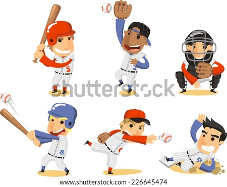 Baseball Player Set, with Catcher, pitcher, third base, shortstop, fielding team and batter vector illustration cartoon. - stock vector