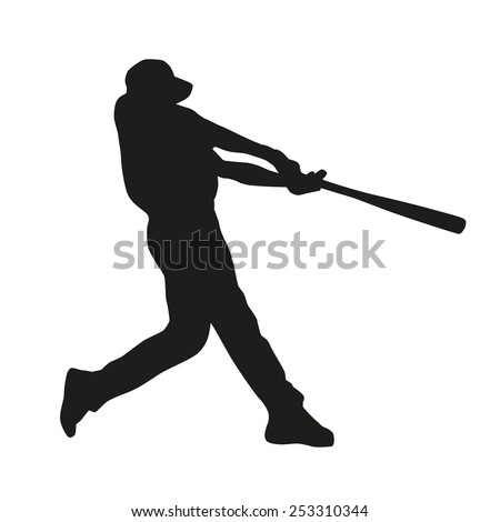 Baseball player. Vector silhouette - stock vector