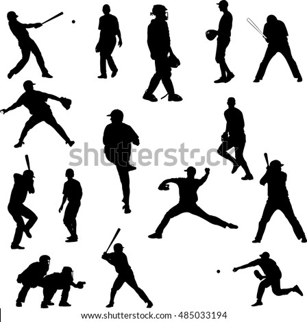 Baseball player vector silhouette