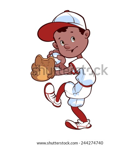 Baseball player with ball and glove - stock vector