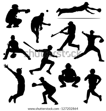 baseball players in vector silhouettes
