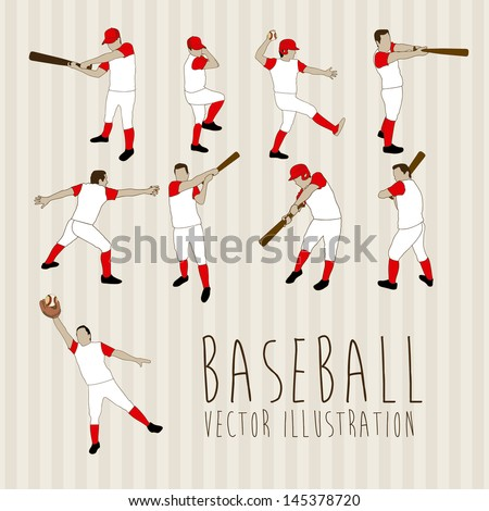 baseball players over lineal background vector illustration - stock vector