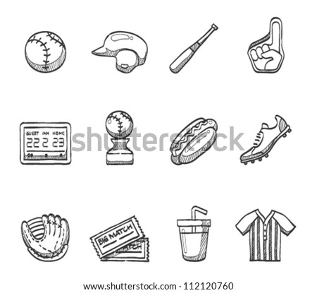 Baseball related icon series in sketch - stock vector