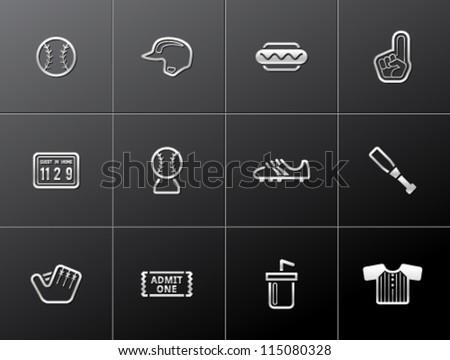 Baseball related icons in metallic style - stock vector