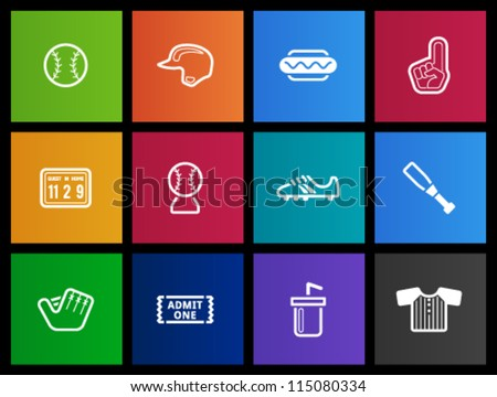 Baseball related icons in metro style - stock vector