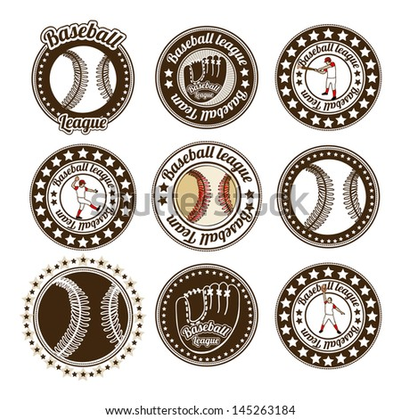 baseball seals over white background vector illustration