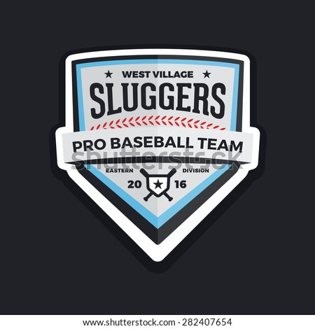 Baseball shield logo badge crest graphic with text - stock vector