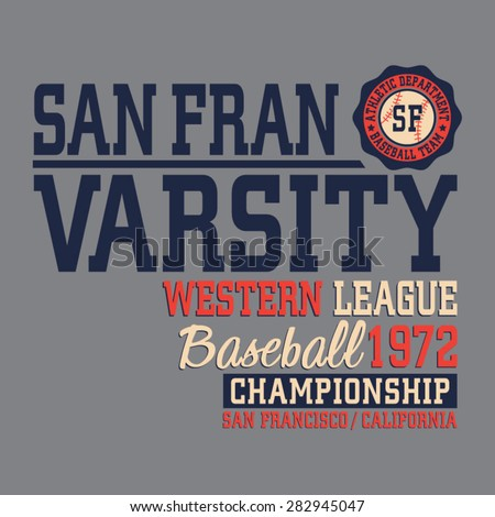 Baseball sport California typography, t-shirt graphics, vectors