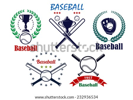 Baseball sporting emblems and symbols with cup, laurel wreath, crossed bats and ball for sports design