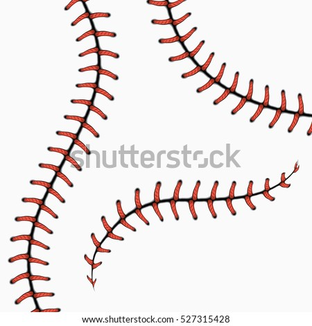 Baseball stitches, softball laces isolated on white. vector set