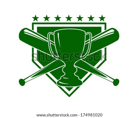 Baseball symbol or emblem logo in green with crossed bats and a cup over a shield with stars, vector illustration isolated on white - stock vector
