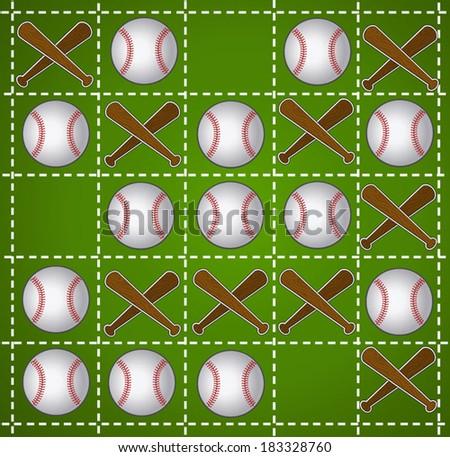 Baseball Tic-tac-toe in green - stock vector