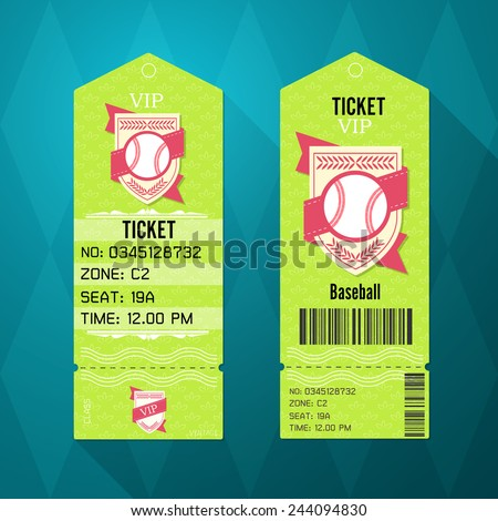 Baseball Ticket Design Template Retro Style - stock vector