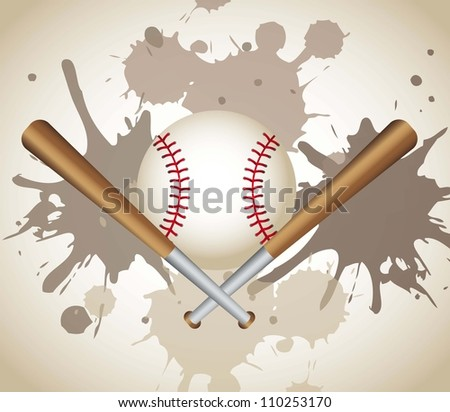 baseball with baseball bats over grunge background. vector - stock vector